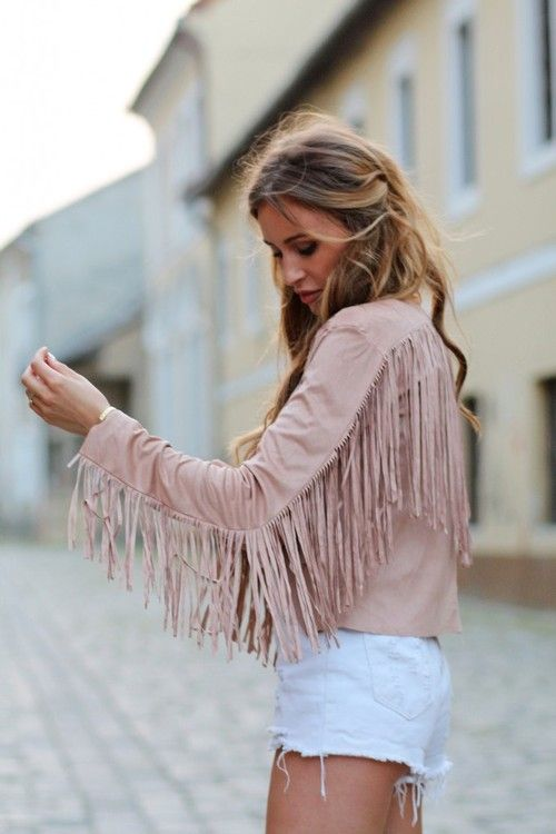 Light pink modern hippie fringe jacket for the new boho chic look. FOLLOW https://www.pinterest.com/happygolicky/the-best-boho-chic-fashion-bohemian-jewelry-gypsy-/ for more Bohemain style ideas.