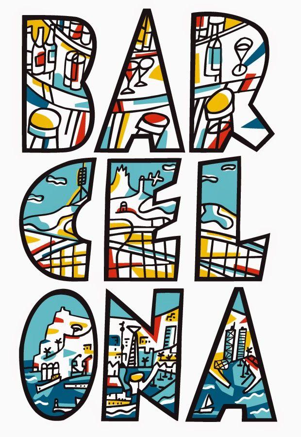 Poster of Barcelona 1979 by Barcelona based designer Javier Mariscal (b. Valencia, Spain 1950)