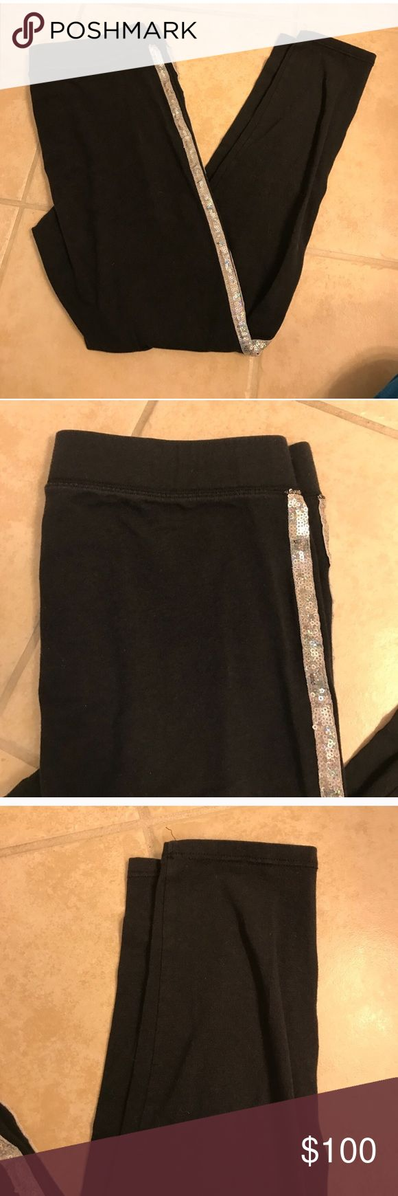 Size M VS Pink silver sequin leggings Size M VS Pink silver sequin leggings PINK Victoria's Secret Pants Leggings