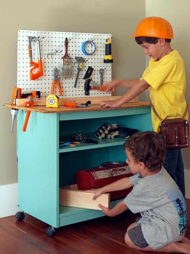 How To Turn Old Furniture Into a Kids' Toy Workbench: We used a computer/printer cart to make our workbench. You could also use a nightstand, side table or cut down a shelving unit. The key is to make sure the piece is adequate height for your child. From DIYnetwork.com