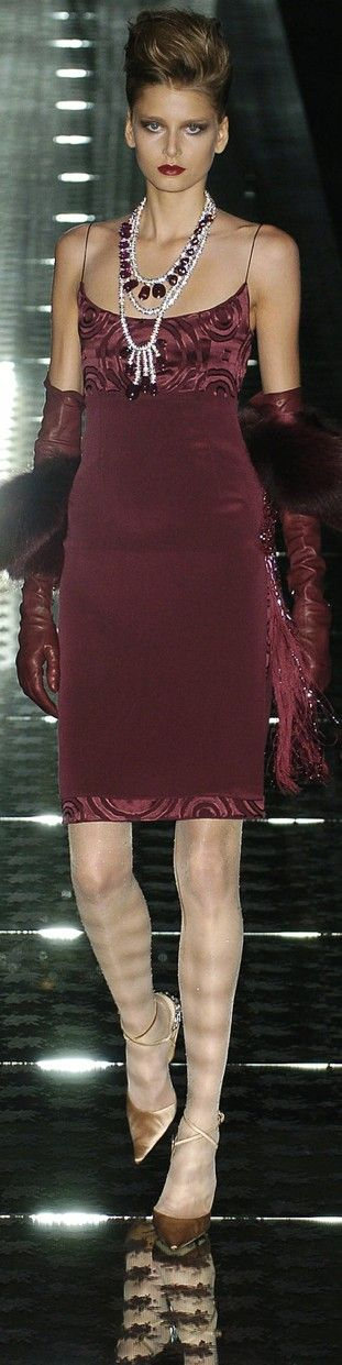 Valentino ~ Couture Burgundy Wine Cocktail Dress w Print Bodice and Hem 2004