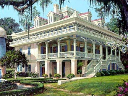 Built in 1856 on the banks of the Mississippi River, about a thirty minute drive from Baton Rouge, Hammond, Houma, and New Orleans, stands one of the most remarkable examples of mid-Nineteenth Century Steamboat Gothic architecture in Old Louisiana Colonial Style - The San Francisco Plantation House