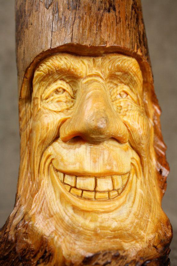 Wood carving spirit carved elf gift for dad
