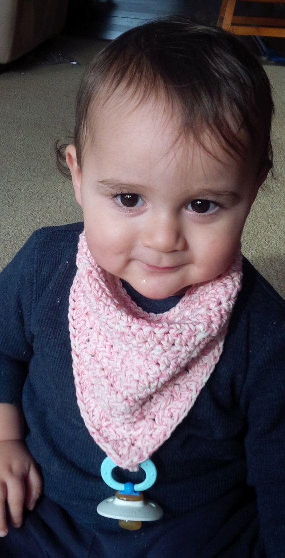 A quick and fun project. A super cute drool bib with a soother attachment to boot. Materials: -- 1 skein of Bernat Handicrafter cotton yarn in
