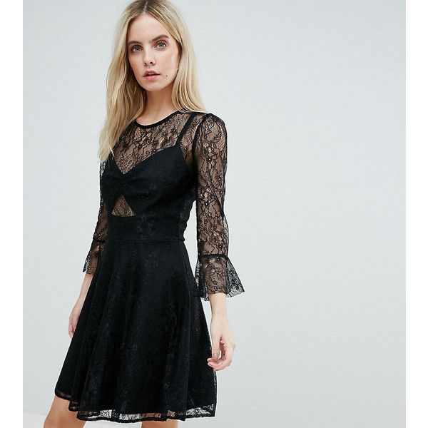 John Zack Petite Lace Top Prom Skater Dress With Bra Top Detail ($68) ❤ liked on Polyvore featuring dresses, black, petite, bodycon dresses, fit-and-flare dress, petite dresses, bodycon prom dresses and lace party dresses