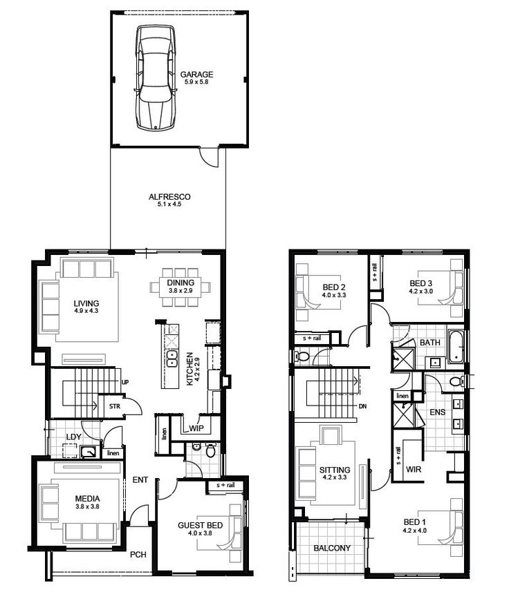 27 best images about double storey plans on pinterest for 3 bathroom house plans perth