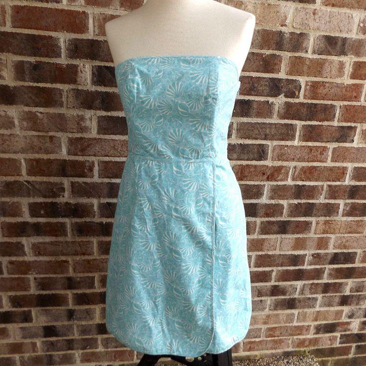 Vineyard Vines Strapless Structured Dress Turquoise Seashells Resort Lined Wrap #vineyardvines #StraplessFauxWrap