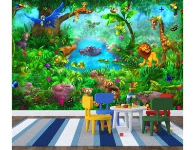 """""""Jungle"""". A wallpaper mural from Muralunique.com. This is an original painting from Birgit Schulz. https://www.muralunique.com/jungle-12-x-8-366m-x-244m.html"""