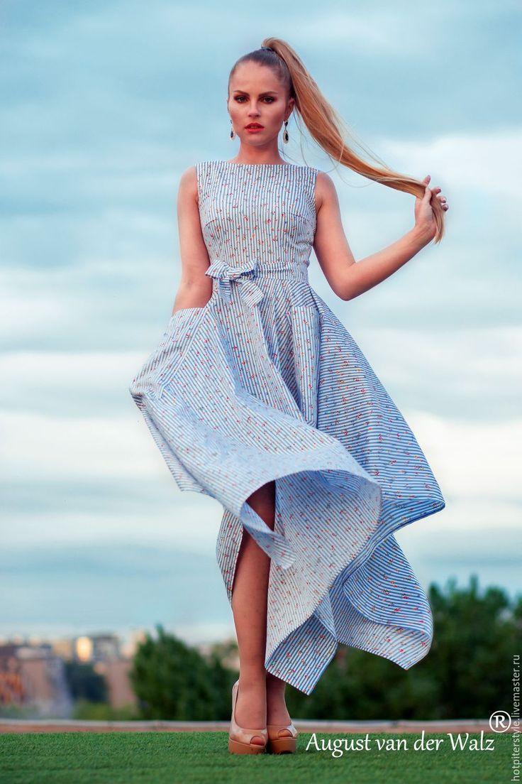 """Купить """"Прелесть"""" Летнее платье с ассиметричной юбкой и карманами - комбинированный, летнее платье, макси платье"""