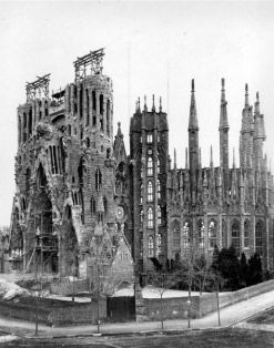 Nativity façade of La Sagrada Familia under construction, Barcelona, 1908