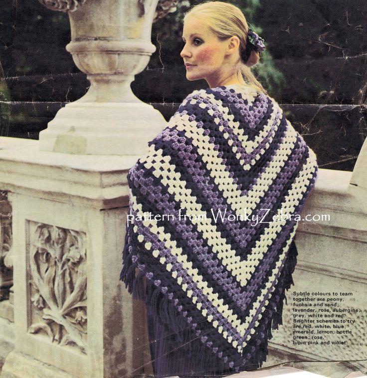 A granny stitch shawl-wear as a poncho serape for colourful draping. WonkyZebra.com