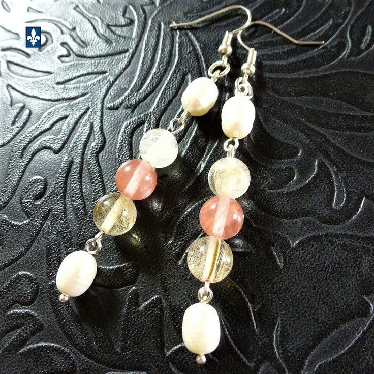 ♥ Genuine Baroque Pearl & Smooth Tourmaline Plated Silver Earrings