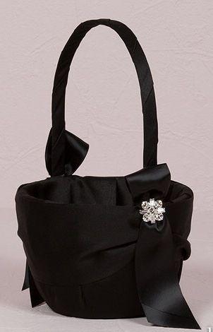 Beverly Clark Monroe Collection Flower Girl Basket - Black - The Wedding Faire