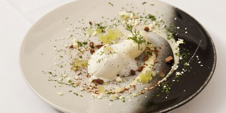 Valrhona white chocolate mousse and sorbet with dill and cucumber by Icelandic Chef Agnar Sverrisson.