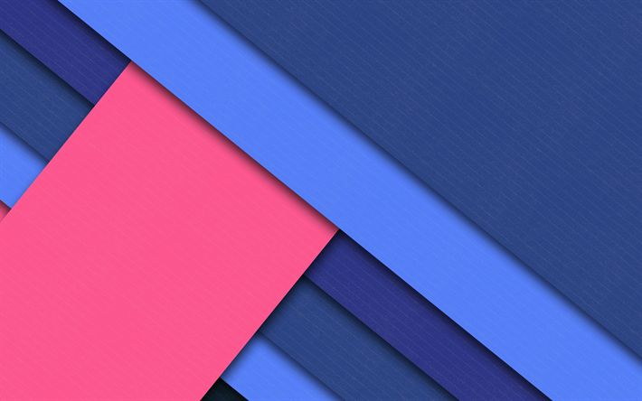 Download wallpapers material design, 4k, pink and blue, lines, blue background, android lollipop, creative, geometric shapes, geometry