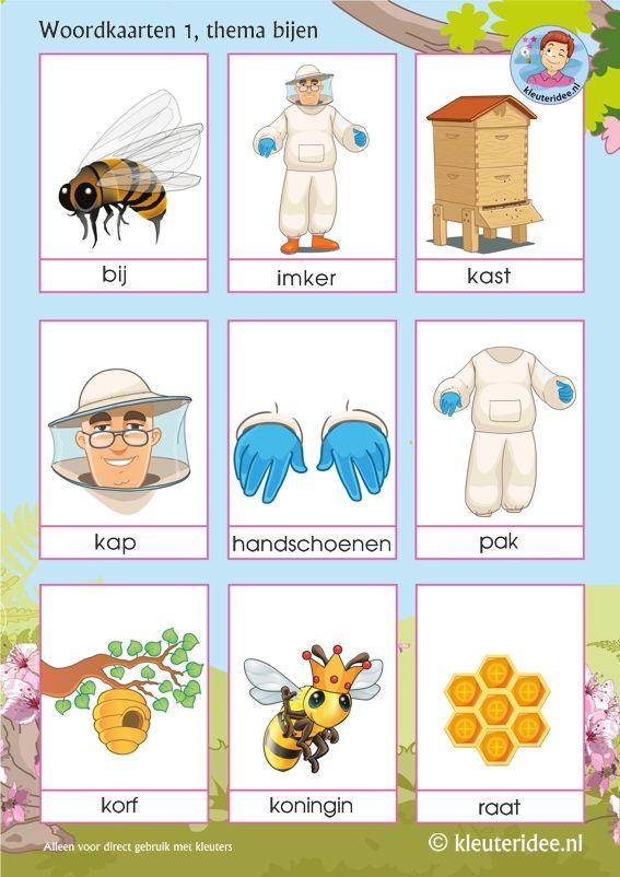 Woordkaarten voor kleuters, thema bijen 1, juf Petra van kleuteridee, Preaschool bees theme, free printable