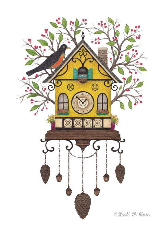"""""""Robin's Cuckoo Clock"""" / vector drawing printed on watercolor paper and finished with colored pencils / by Wendi M. Moore"""