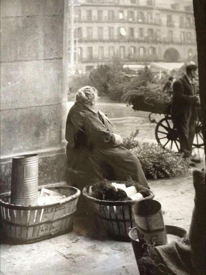 Fotografía de BASABE. Plaza Mayor de Madrid, posiblemente años 50.