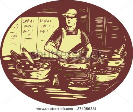 Illustration of a Taco chef cook wearing hat and apron holding meat cleaver knife in market food stall with pots set inside oval shape done in retro style. - stock vector #taco #retro #illustration
