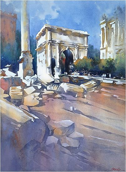 roman forum by Thomas W. Schaller Watercolor ~ 30 inches x 22 inches