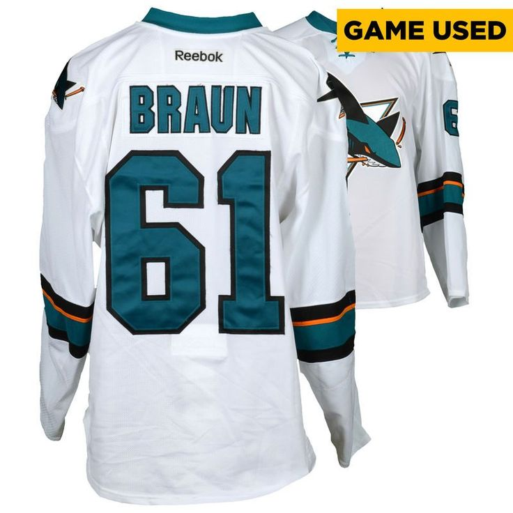 Justin Braun San Jose Sharks Fanatics Authentic Game-Used Away White #61 Jersey used during all games between March 30, 2017 to April 3, 2017 - Size 58