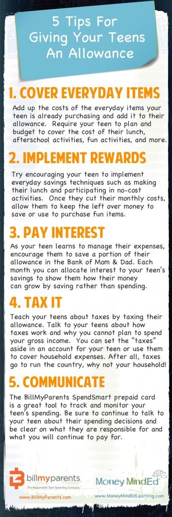 Expert reference guide: 5 Tips For Giving Your Teens An Allowance | BillMyParents