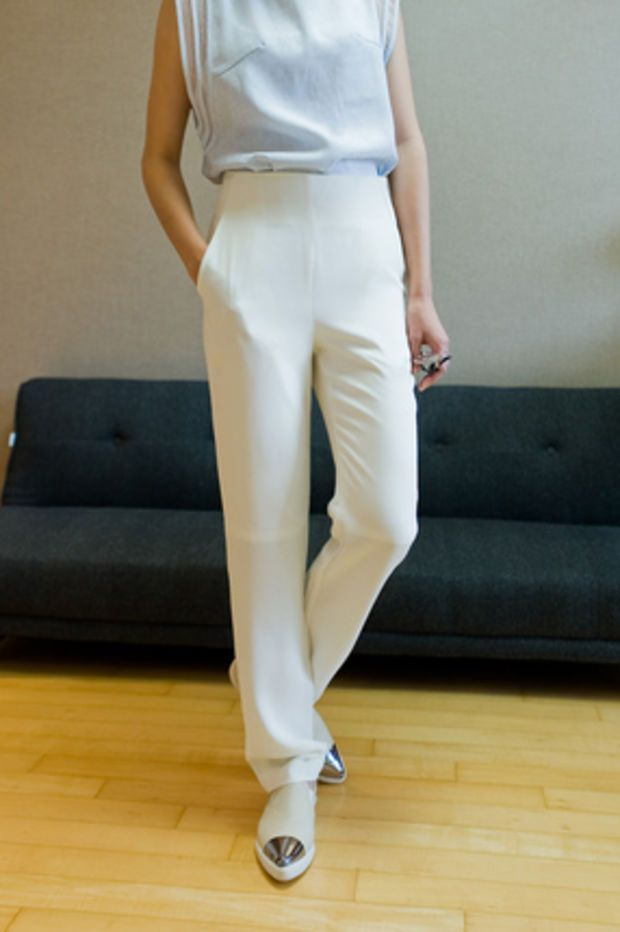 high waist straight fit pants