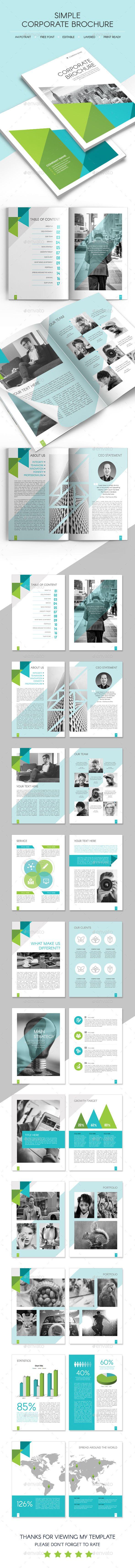 Simple Corporate Brochure Template #design Download: http://graphicriver.net/item/simple-corporate-brochure/14511212?ref=ksioks