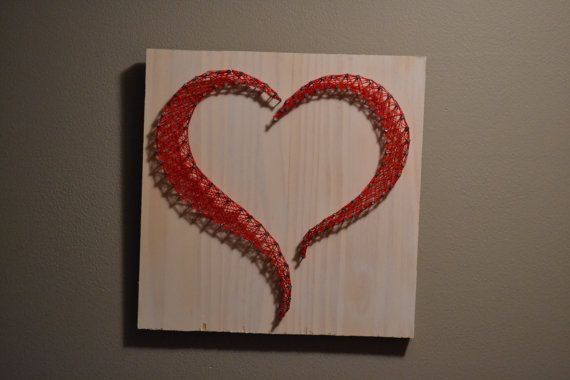 Open heart string art-love wall art-red heart string art-valentine's day gift-gift for her- ON SALE