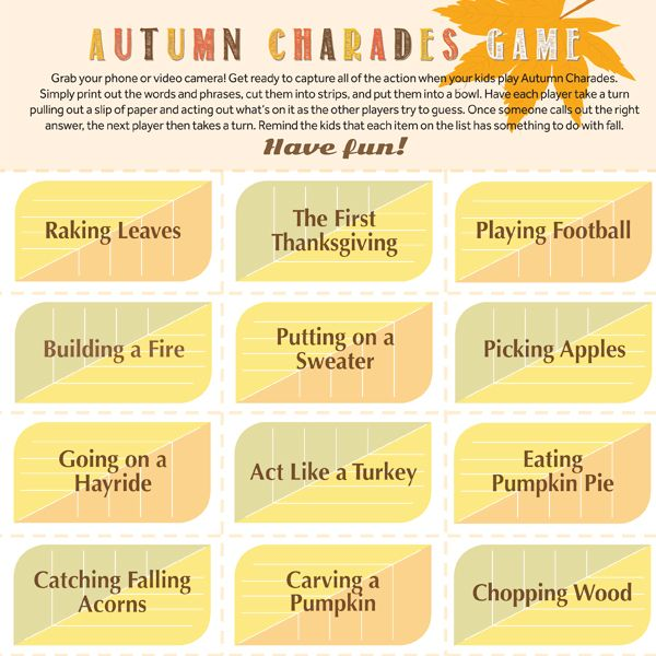 Autumn Charades Game Thanksgiving Autumn And Game