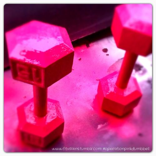 """Operation Pink Dumbbell Preview!    (decided since the industry won't let me buy heavier weights in my favorite shade, I'd make my own).    They took MUCH longer to dry than my patience usually allows, and several coats. But… I think they're awesome. SOOOO excited to have """"pink"""" dumbbells in double digits. (They're 15's)"""