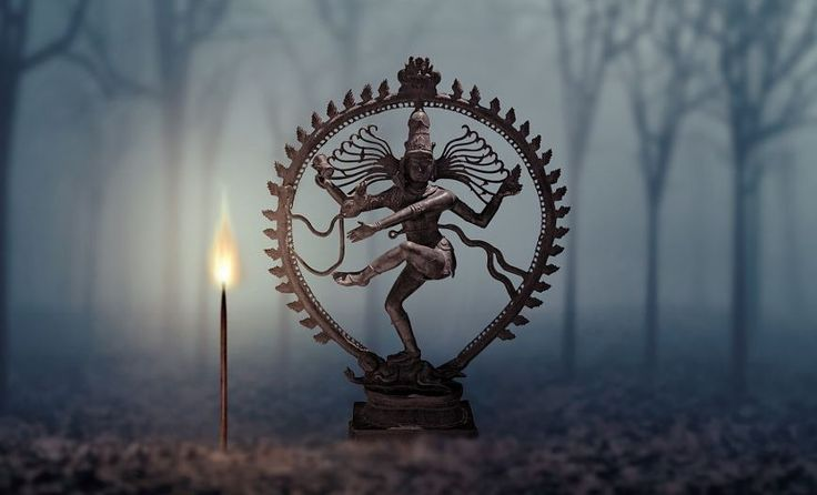 Lord Shiva as Nataraja was first illustrated in the Chola bronze statues where he was shown dancing on an aureole of flames, with one foot on the dwarf, Ap