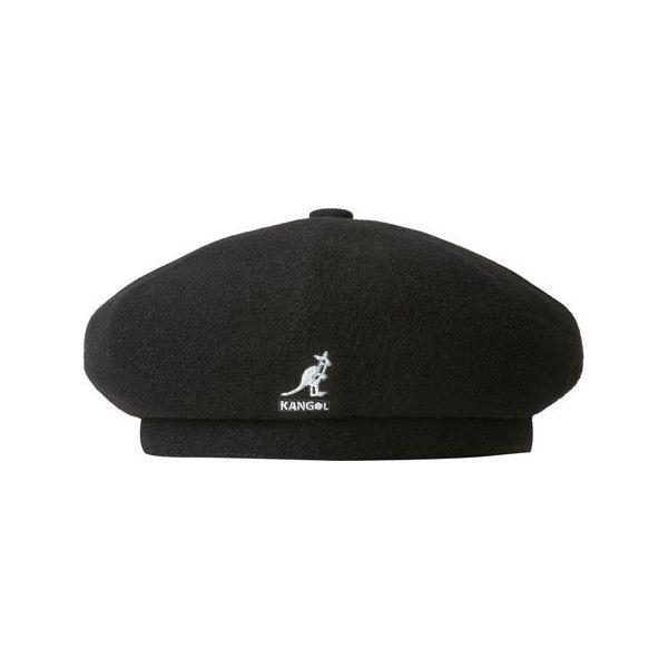 Kangol Wool Jax Beret ($60) ❤ liked on Polyvore featuring accessories, hats, black, wool beret hat, wool beret, 5-panel hat, wool hat and woolen hat
