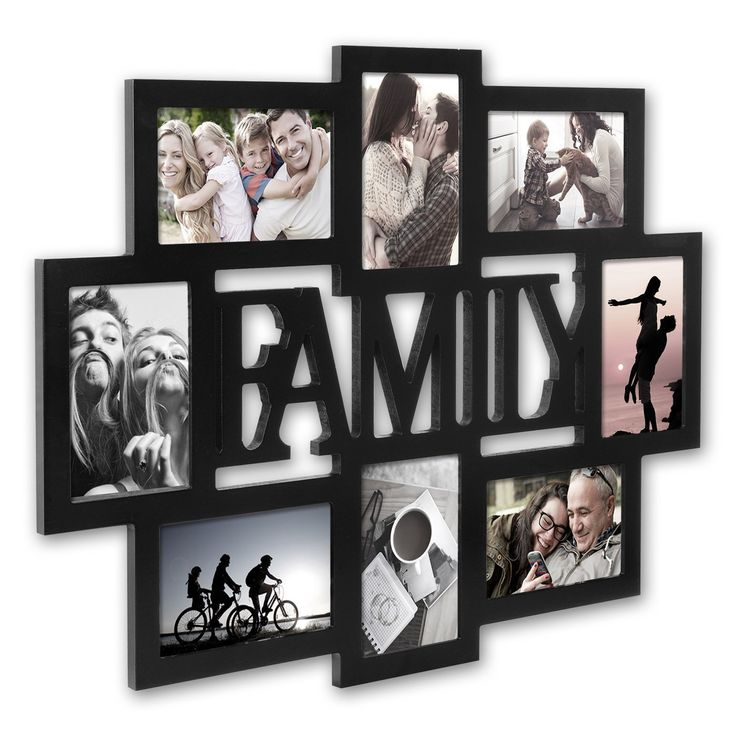 WOLTU APFC1005blkS8 Collage Picture Frames 'FAMILY' Design Photo Frame Wall Hanging Decor for Home, Office, Studio or Gallery, MDF Material Plexiglass Cover, 8 Openings 4x6 Inch, Black ** For more information, visit image link. (This is an affiliate link and I receive a commission for the sales)