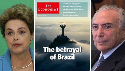Golpe brasileiro é submetido a mais um vexame internacional; até mesmo a ultraconservadora revista inglesa The Economist, frequentemente citada pela mídia nacional, tirou sarro do impeachment aprovado na Câmara dos Deputados no último domingo; capa da revista que circula neste 21 de abril, data de Tiradentes, o herói traído na Inconfidência Mineira, fala justamente da traição do Brasil; revista diz ainda que os delitos fiscais atribuídos à presidente Dilma Rousseff são muito menores do que…