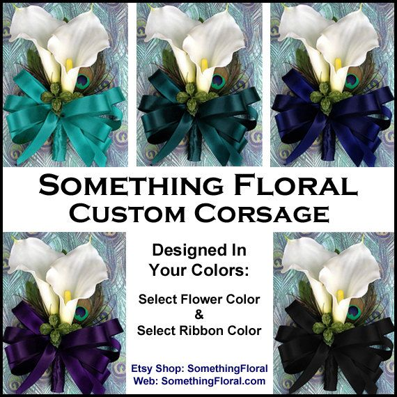 Realistic, Artificial Calla Lily and Genuine Peacock Feather Corsage, Choice of Flower Colors and Ribbon Colors, by SomethingFloral, $23.00 on Etsy. Also available at http://www.SomethingFloral.com