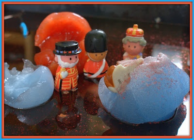 ice sensory play - the queen was successfully rescued but will the corgie make it?