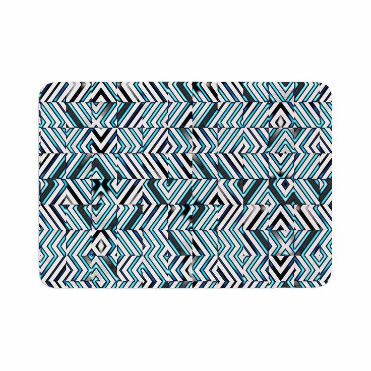 "Dawid Roc ""Maze Geometric Abstract 2"" Teal Pattern Memory Foam Bath Mat"
