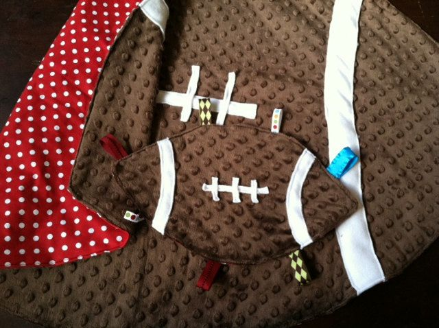 Football Baby Blanket Fleece Red and White. $40.00, via Etsy.