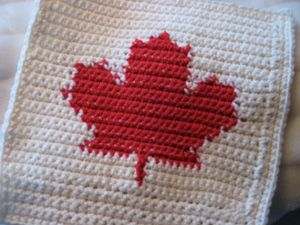 Canadian crochet square. Crocheted with love and hope. Made for a friend to send on to a woman who was fighting for her life. Part of a much larger project. *No pattern