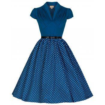 Megan Blue Pleated Polka Dress   Vintage Inspired Fashion - Lindy Bop