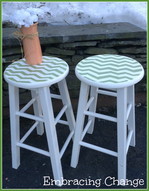 Embracing Change: Chevron Stools Makeover