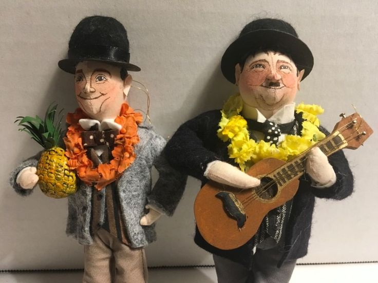 Gladys Boalt ornaments, Laurel and Hardy, Comedy Duo, Signed Dated 2007