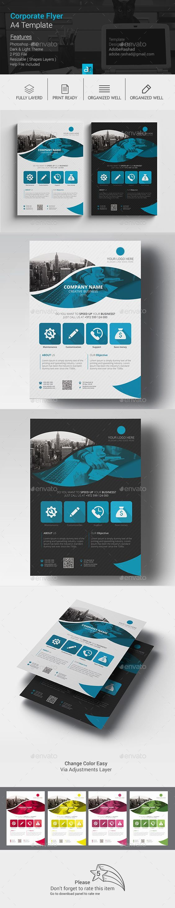 A4 Corporate Flyer Template PSD. Download here: graphicriver.net/...