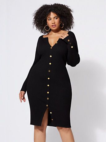 45d52a8e733 Shop FTF Devyn Button-Down Sweater Dress. Find your perfect size online at  the