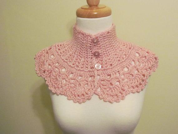 Victorian Collar Neckwarmer Pink  Crochet by pegsyarncreations