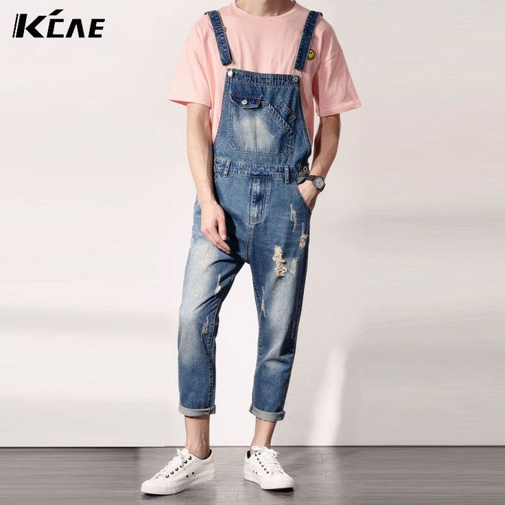 Mens Distressed Jeans Ripped Jumpsuit Denim Overalls Men Baggy Cargo Pants with Suspenders Denim Bib Overalls for Men #Affiliate