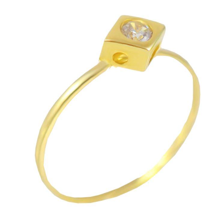 Μ179Ζ- Χρυσό μονόπετρο δαχτυλίδι