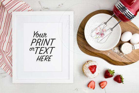 Print Background / Blank Frame / Styled Stock Photography / Product Photography / Staged Photography / Red / Fruit / Baking Kitchen / K001S