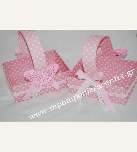 Κουτί μαρτυρικών χάρτινο πουά ροζ